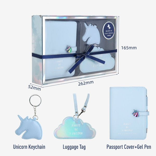 Unicorn Leather Passport Gift Set with Gel Pen, Luggage Tag and KeyChain