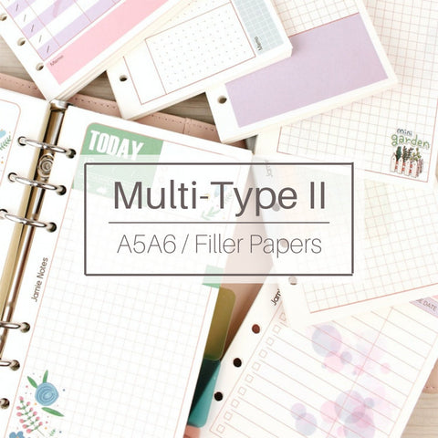 A5/A6 Size 7-Type Binder Planner Refills (40 Sheets)