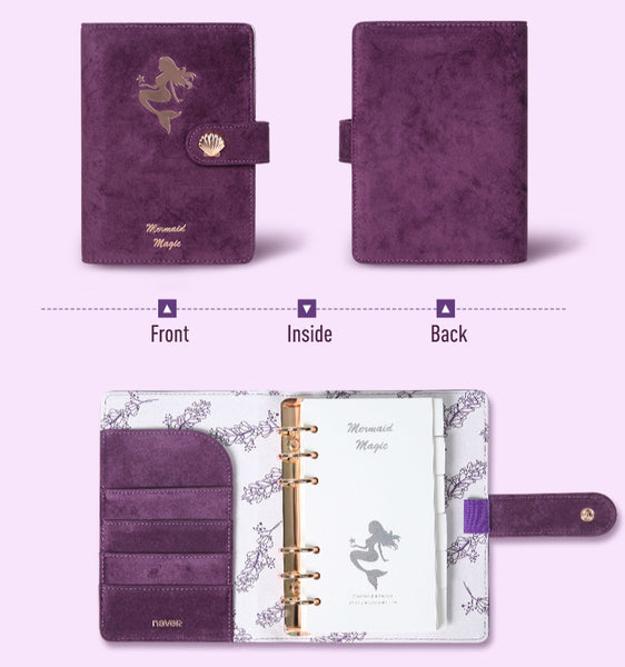A6 Flannel & Leather Binder Wedding Planner with Refillable Inserts