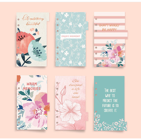 A6 Planner Laminated Divider (Set of 6)
