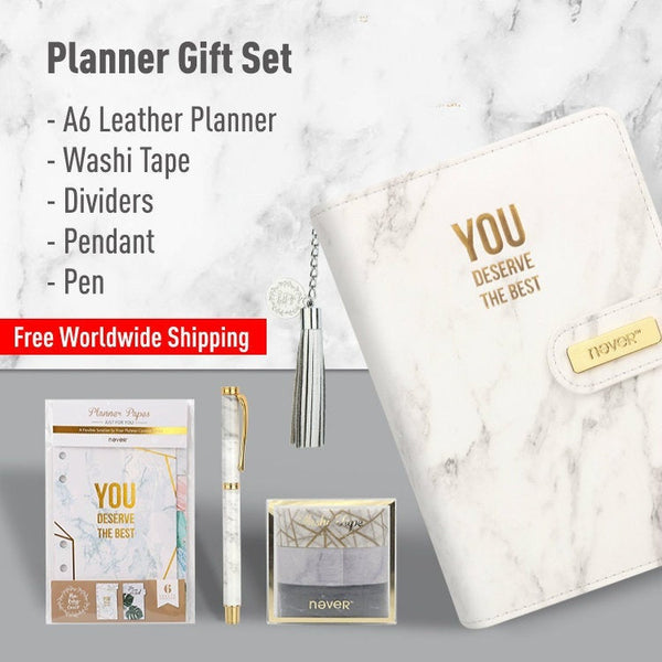 Marble 6-Ring Binder Planner Set (A6 Size) with Divider, Pen and Washi Tape