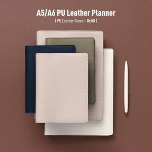 A5/A6 Premium PU Planner / Journal Cover with Refillable Notebook