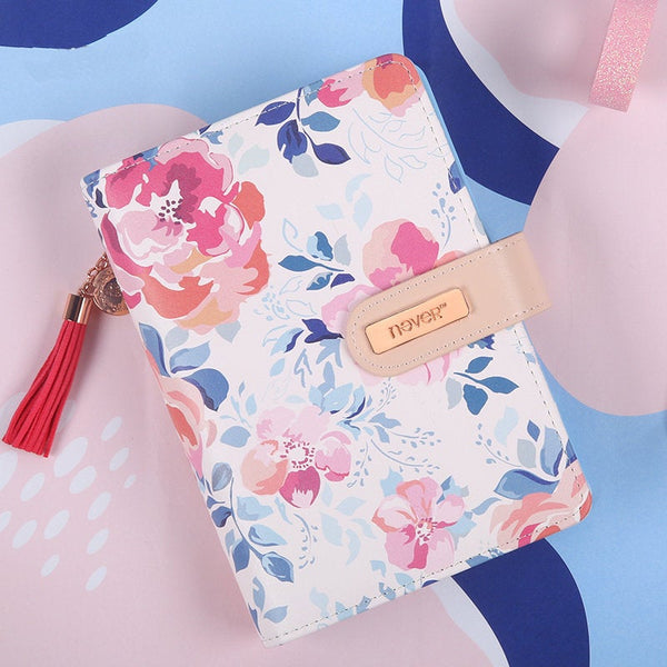 A6 Premium Leather Binder Floral Planner with Refillable Inserts