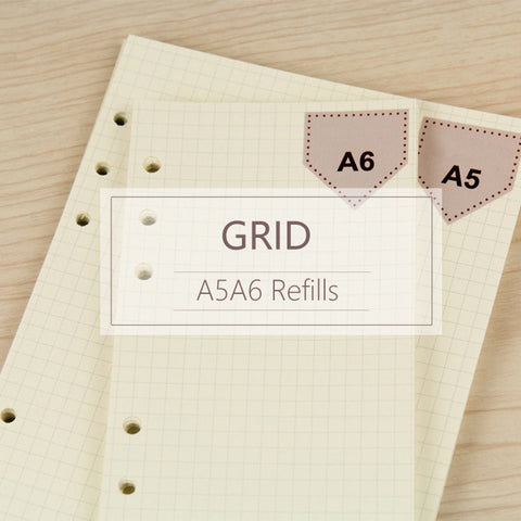 A5/A6 Grid Binder Planner Refills (40 Sheets)