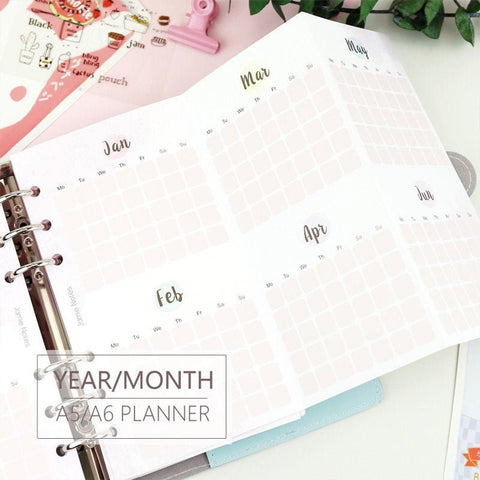 A5/A6/A7 Yearly/Monthly Three-Fold Binder Planner Refills (5 Sheets)