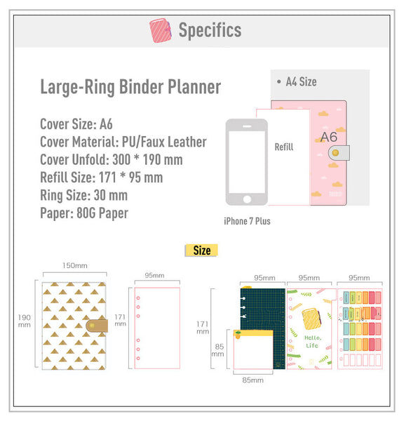 A6 Large-Ring (30mm) Leather Binder Planner with  Refillable Inserts