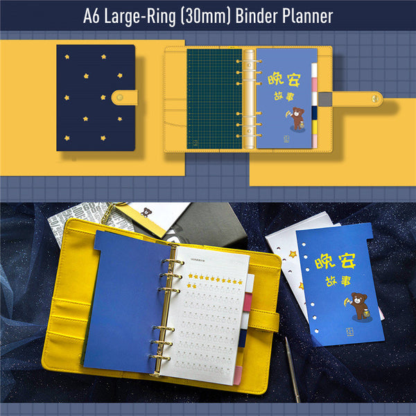 A6 Large-Ring Binder Planner with Cotton Cover and Refills