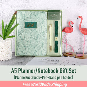 A5 Leather Planner / Journal Gift Set with Elastic Band and Pen