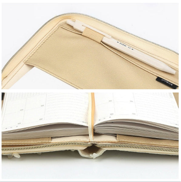 A6 Zippered Planner with Refillable Notebook (White Butterfly)
