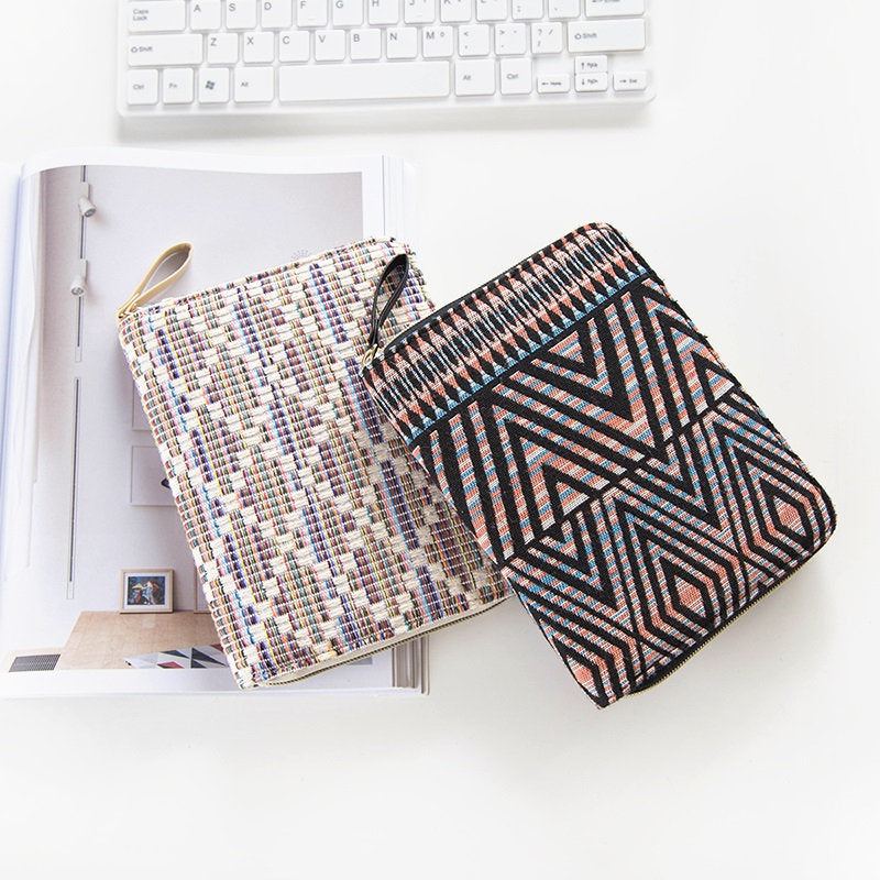 A6 Zippered Cotton Planner with Refillable Notebook
