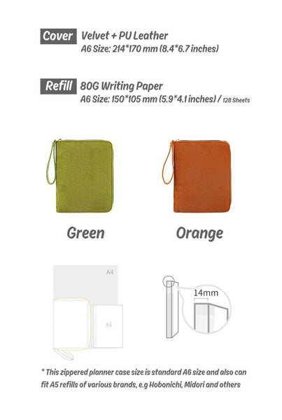 A6 Zippered Planner with Refillable Notebook (Green/Orange)