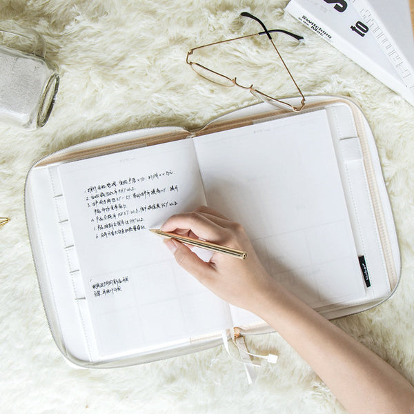 A5 Zippered Leather Planner with Refillable Notebook