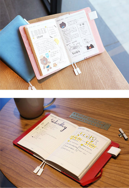 A6 Hobo-Style Leather Planner with Refillable Notebook