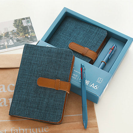 A6 Hobo-Style Planner Set with Refillable Notebook and Pen (4 Colors)