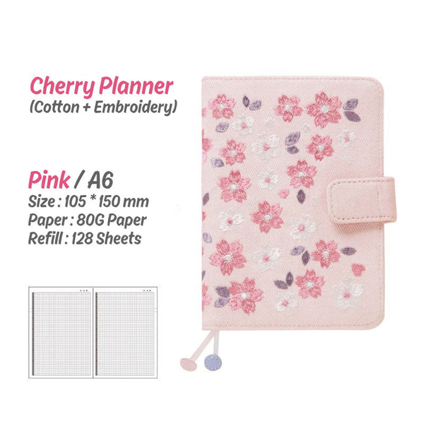A6 Hobo-Style Cherry Planner Set with Refillable Notebook, Pen and Sticker