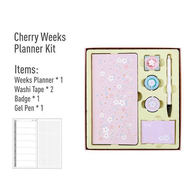 Hobonichi-Style Weeks Planner Gift Set (Cherry Edition)
