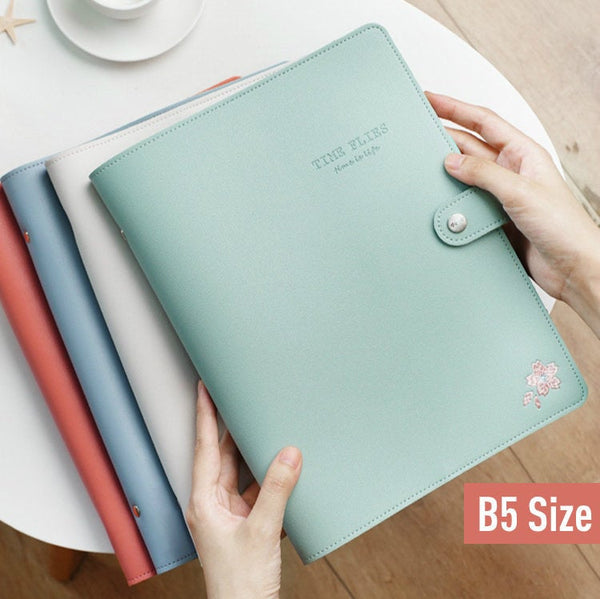 B5 Large Leather Binder Planner with Refillable Inserts
