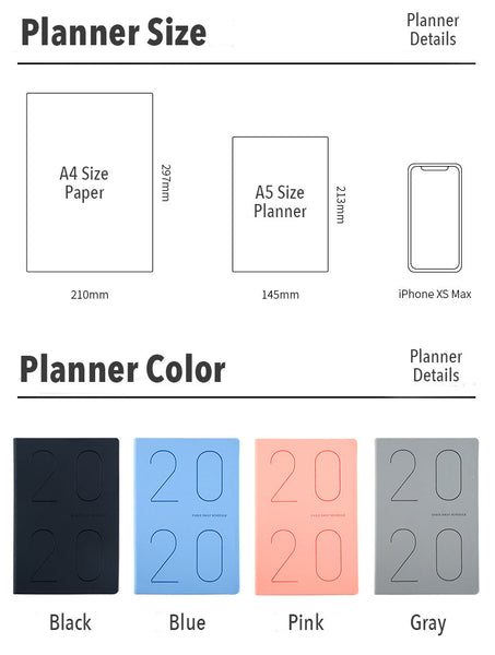 A5 Year 2020 Daily Planner (400 Pages)