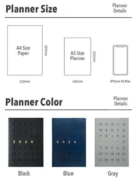 A5 Year 2020 Daily Planner (320 Pages)