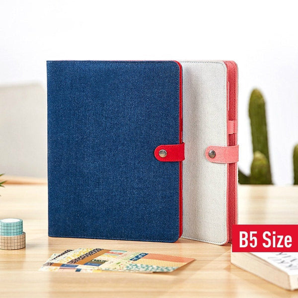 B5 Large Denim Binder Planner with Refillable Inserts