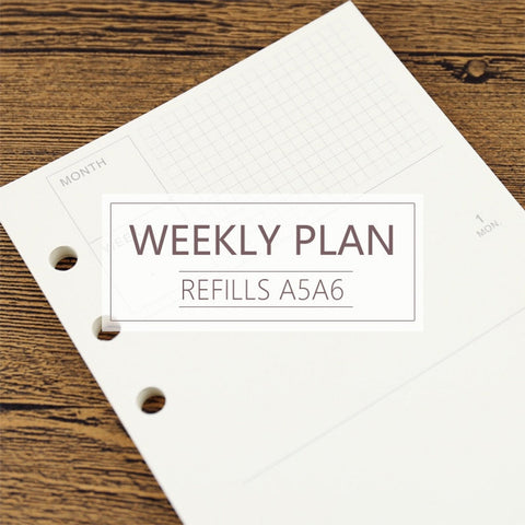 A5/A6 Weekly Plan Binder Planner Refills (40 Sheets)