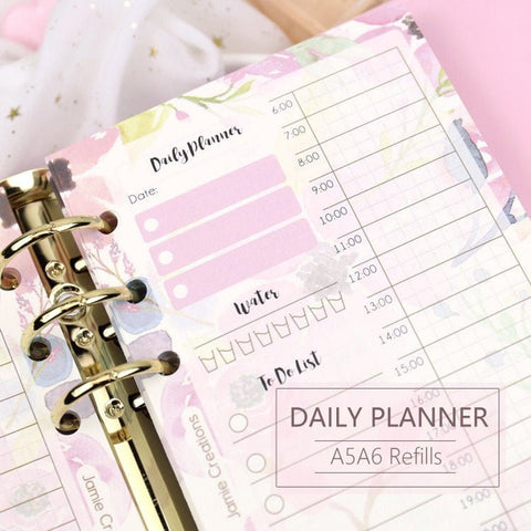 A5/A6 Floral Daily Binder Planner Refills (40 Sheets)