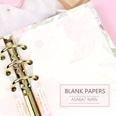 A5/A6/A7 Floral Blank Binder Planner Refills (40 Sheets)