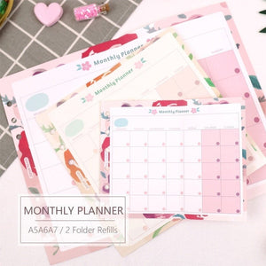 A5/A6/A7 Monthly Plan Two-Fold Binder Planner Refills (20 Sheets)