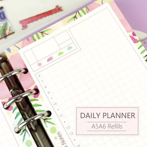 A5/A6 Floral 1D1P Daily Binder Planner Refills (40 Sheets)