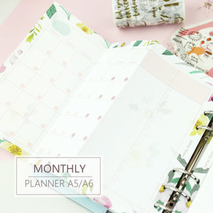 A5/A6 Floral Monthly Three-Fold Binder Planner Refills (20 Sheets)