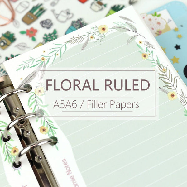 A5/A6 Floral Ruled Line Binder Planner Refills (40 Sheets)