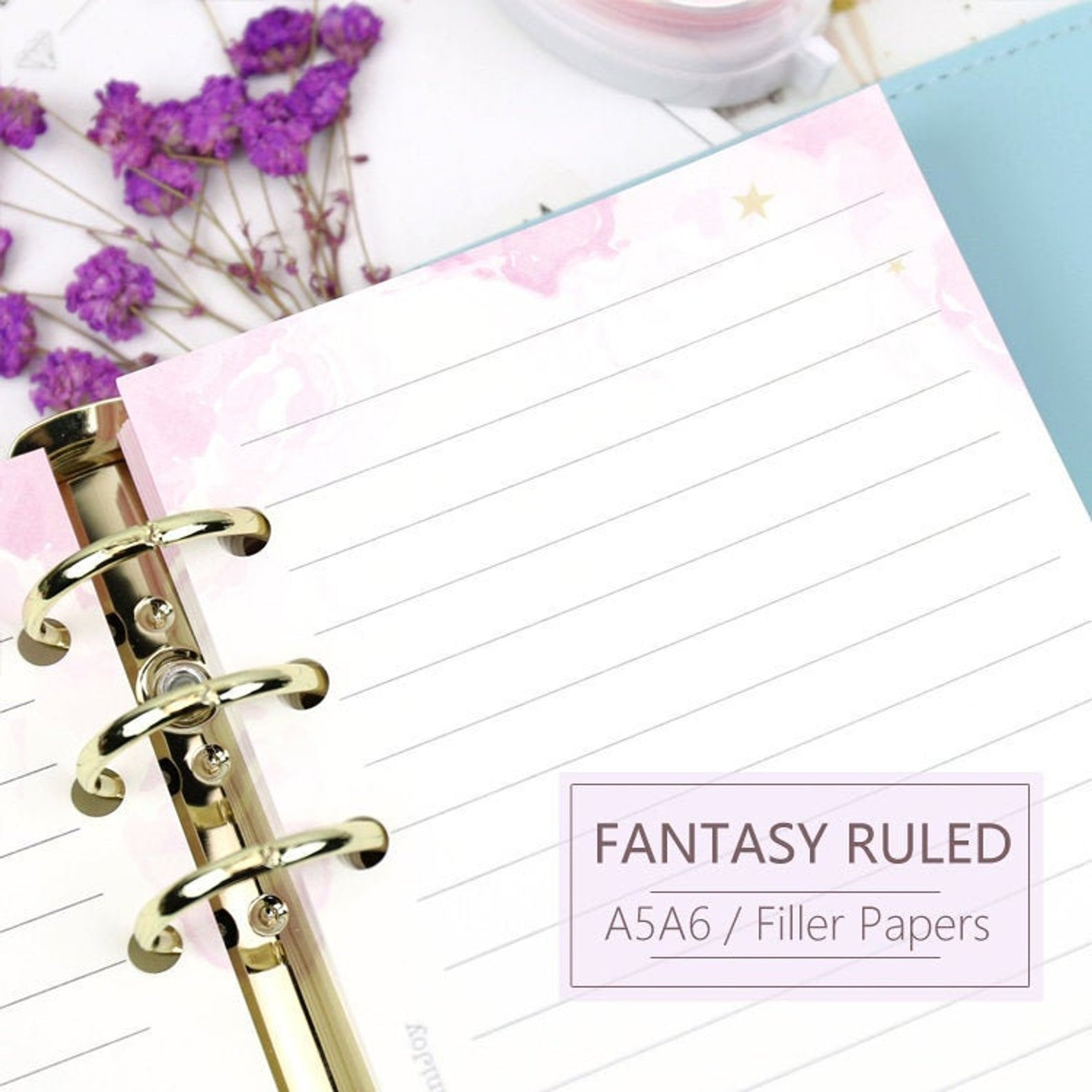 A5/A6 Fantasy Ruled Line Binder Planner Refills (40 Sheets)