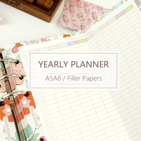 A5/A6 Yearly Plan Two-Fold Binder Planner Refills (5 Sheets)