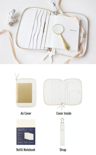 A6 Zippered Minimal Style Planner with Strap