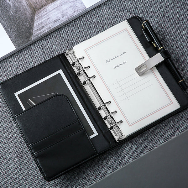 A6 Business Binder Planner with Refillable Inserts (Black/White)