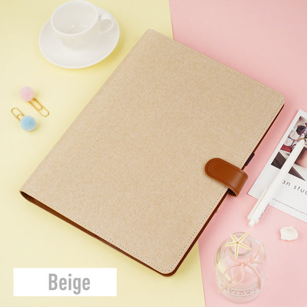 B5 Large Linen Binder Planner with Refillable Inserts