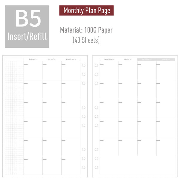 B5 Planner Refills (40 Sheets)-Grid/Dotted/Weekly/Monthly Page