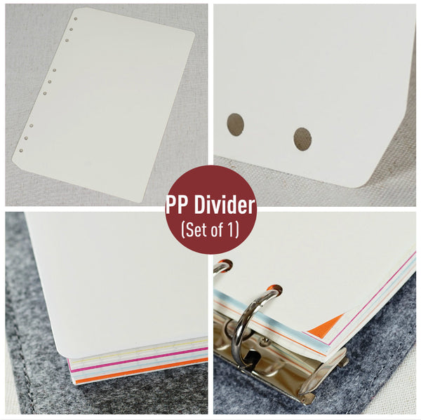 B5 Planner Inserts - Divider Set of 5, PVC Pocket and Ruler