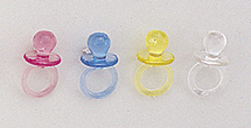 Transparent Plastic Baby Shower Pacifier 2.5 Inch Pack of 12