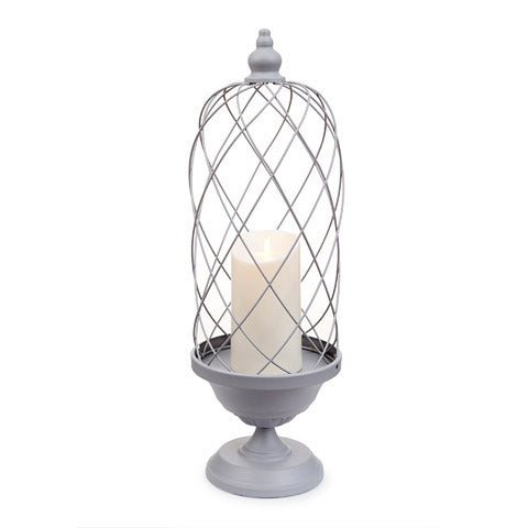 Bird Cage Candle Holder - Gray / Ivory - 24 Inches