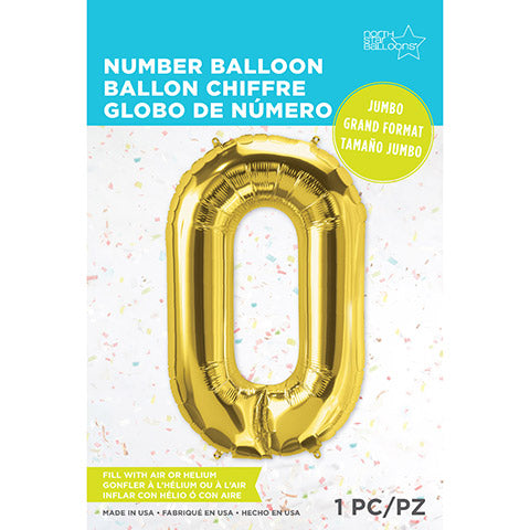 Number Foil Balloon: Zero Gold 34 Inches | Northstar Balloons