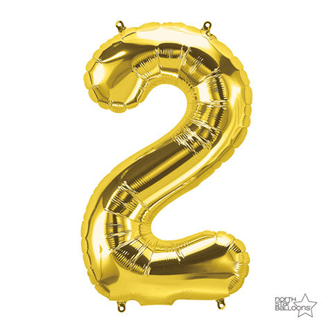 Number Foil Balloon: Two Gold 34 Inches | Northstar Balloons