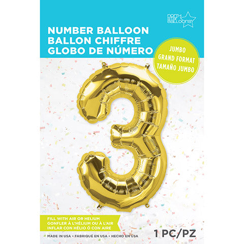 Number Foil Balloon: Three Gold 34 Inches | Northstar Balloons