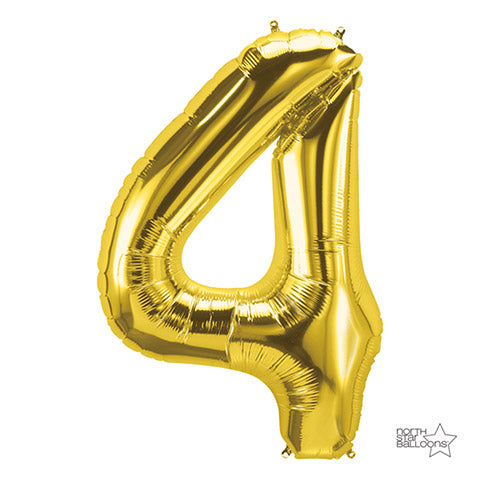 Number Foil Balloon: Four Gold 34 Inches | Northstar Balloons