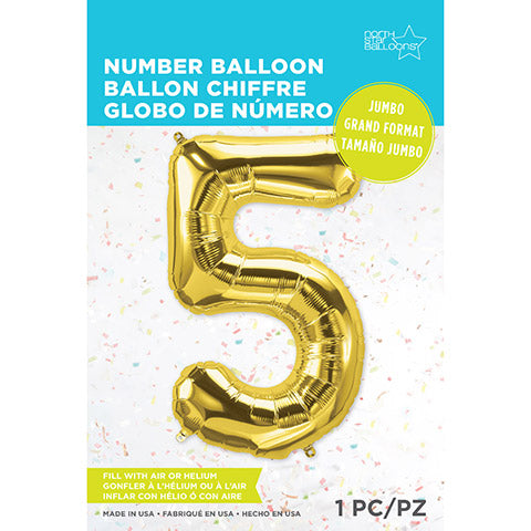Number Foil Balloon: Five Gold 34 Inches | Northstar Balloons