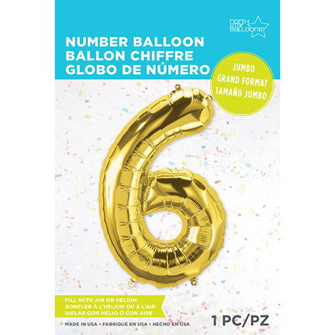 Number Foil Balloon: Six Gold 34 Inches | Northstar Balloons