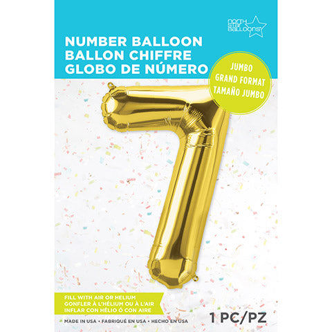 Number Foil Balloon: Seven Gold 34 Inches | Northstar Balloons