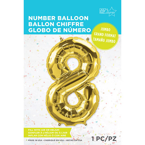 Number Foil Balloon: Eight Gold 34 Inches | Northstar Balloons