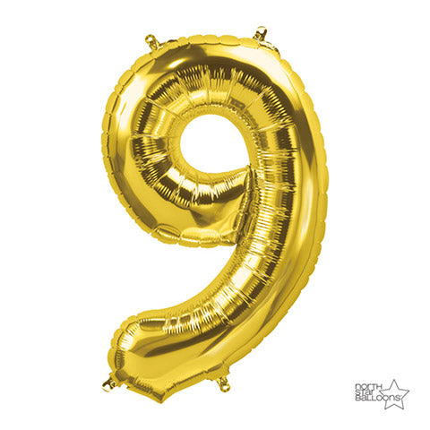 Number Foil Balloon: Nine Gold 34 Inches | Northstar Balloons