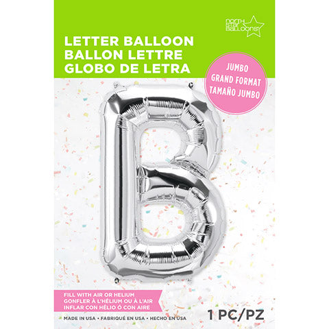 Letter Foil Balloon: B Silver 34 Inches | Northstar Balloons